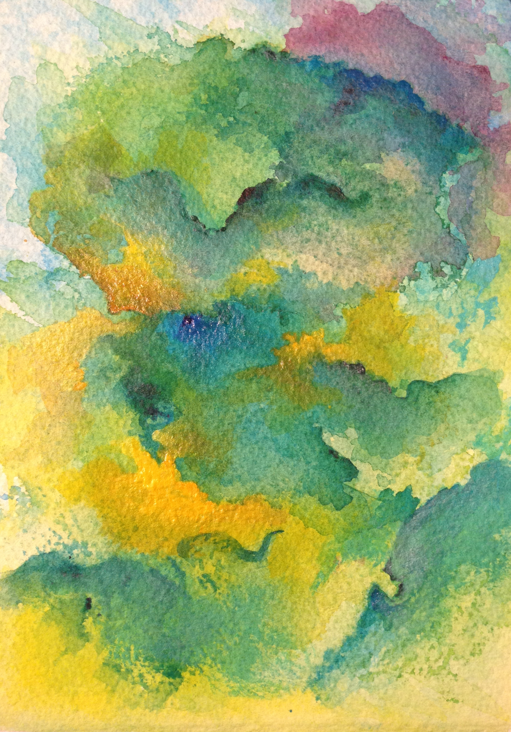Acrylic over Watercolor on Watercolor Paper – Create art every day